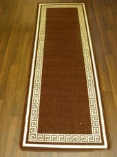 NEW NON SLIP TOP QUALITY RUNNERS 66X185CM APROX 6FTX2FT3 KEY DESIGN BROWN/CREAM