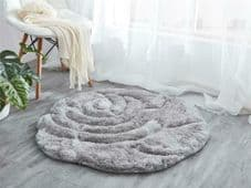 Rugs 3D Rose Design Romany Gypsy Bling Floor Mat Nice Grey Glitter Not Washable