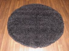 SHAGGY NEW 120X120CM CIRCLE RUGS WOVEN BACK HAND CARVED BLACK NEW LOVLEY THICK