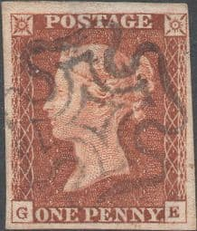 1841 1d Red SG10 Plate 18 'GE'