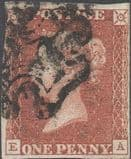 1841 1d Red SG7 Plate 10 'EA'