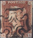 1841 1d Red SG7 Plate 8 'RA'