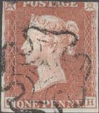 1841 1d Red SG7 Plate 9 'SH' Edin MX