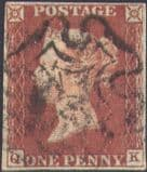 1841 1d Red SG8 Plate 20 'QK' (1)