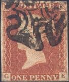 1841 1d Red SG8 Plate 24 'GE'