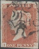 1841 1d Red SG8 Plate 24 'IC'