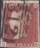 1852 1d Red SG8 Plate 168 'JD'
