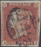 1852 1d Red SG8 Plate 168 'SI'