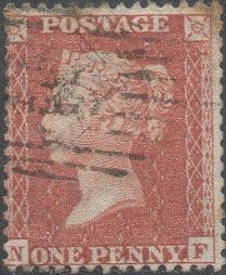 1855 1d Red SG24 Plate 4 'NF'