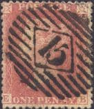 1857 1d Red C9A(1) Plate 47 'EB'