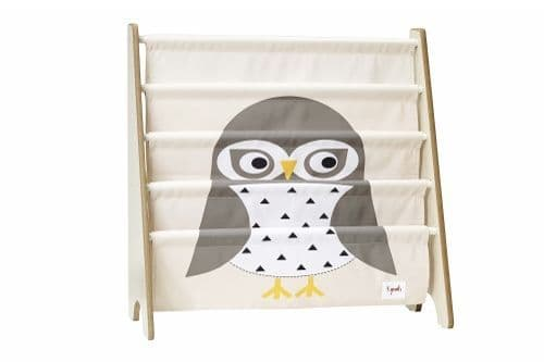 3 Sprouts Book Rack - Owl White