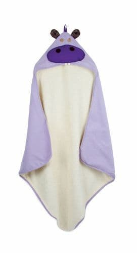 3 Sprouts Hooded Towel - Hippo Purple