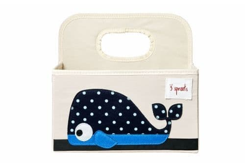 3 Sprouts Nappy Caddy - Whale Blue