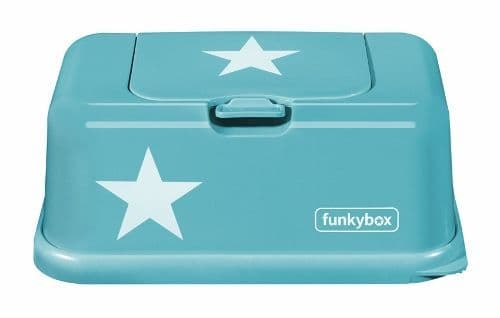 Funkybox tissue / wipe dispenser - Aqua/White Star