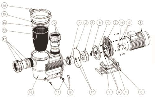 """Hydrostar Pump - Assembly 3"""" Conns (Models With Diffuser)"""
