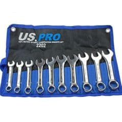 10pc Stubby Combination Spanner Set 10mm to 19mm US PRO 2202