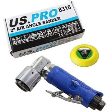 """2"""" Air Angle Sander Velcro Backed Pad 90° Detailing Head US PRO 8316"""