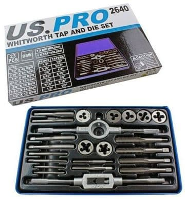"""23pc Whitworth Tap And Die Set BSW 1/8"""" to 1/2"""" US PRO 2640"""