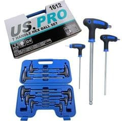 9pc Hex Key Screwdriver Set T Handle Ball End 2mm to 10mm US PRO 1612