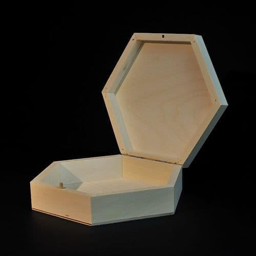 Plain hexagonal wooden box 22 x 22 x 6 cm