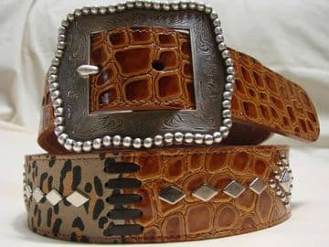 Ariat Western Leather Belt with Decorative Studs - Size 34