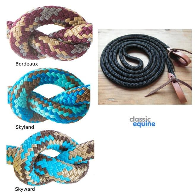 Rope Reins with Leather Waterloops - 10 ft - Various Colours