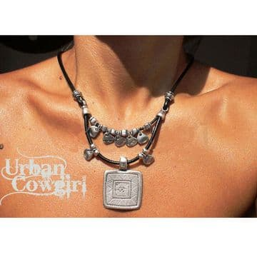 Urban Cowgirl Brown Leather Necklace with Square & Silver Beads