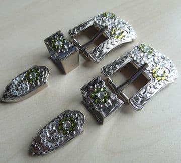 Urban Cowgirl Buckle Set - Silver Buckle with Crystals -Olive