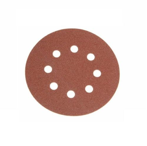 Faithfull FAIAD125240H Hook & Loop Sanding Disc Holed 125mm 240 Grit 25 Pack