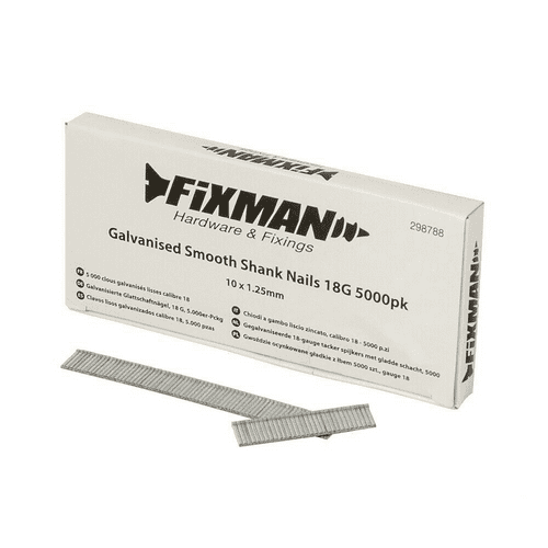 Fixman 298788 Galvanised Smooth Shank Brad Nails 18G 5000 Pack 10mm