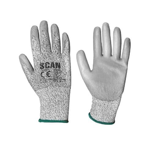 Scan SCAGLOCUT3XL Grey PU Coated Cut 3 Gloves Extra Large