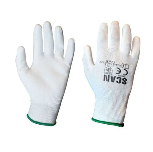 Scan SCAGLOPUW12X White PU Coated Gloves Extra Large 12 Pack