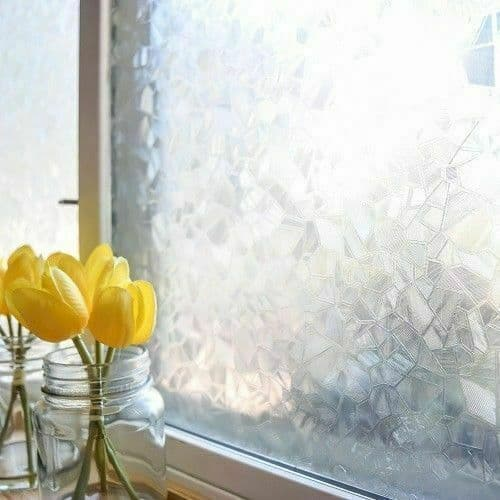 1.5m x 90cm Frosted Glass Splinter Ice Privacy Vinyl Wrap Static Cling D-C-Fix