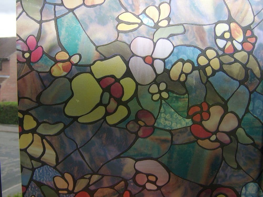 1M X 45CM RED BLUE STAINED GLASS FLOWER WINDOW STICKY BACK PLASTIC VINYL FILM SELF ADHESIVE
