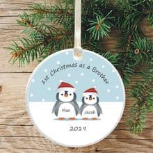 1st Christmas as a Brother Ceramic Xmas Tree Decoration - Penguin Design