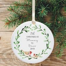 1st Christmas as a Mummy Ceramic Keepsake Decoration - Robins and Mistletoe Design