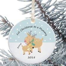 1st Christmas as a Mummy/Daddy Ceramic Keepsake Decoration - Reindeer Design