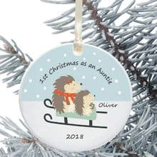 1st Christmas as an Aunty/Uncle Ceramic Keepsake Decoration - Hedgehog Design