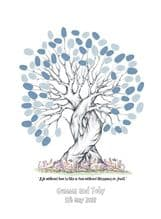 A3+ Personalised Quote Wedding Fingerprint Tree - Guest Book Alternative - Bride and Groom Keepsake