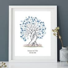 A3+ Love Birds Wedding Fingerprint Tree - Guest Book Alternative - Bride and Groom Keepsake