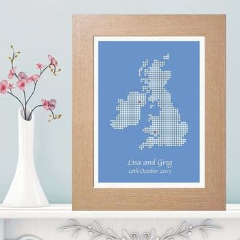 Abstract British Isles Dot Map Print - Unique Wedding, Engagement or Anniversary Gift