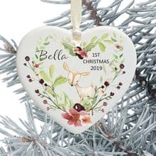 Baby 1st Christmas Ceramic Heart Xmas Tree Decoration - Floral Deer Heart Design