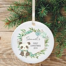 Baby Boy's 1st Christmas Ceramic Christmas Tree Decoration  - Cute Panda & Flowers Design