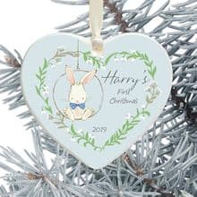 Baby Boy's 1st Christmas Ceramic Heart Tree Decoration - Cute Bunny in a Floral Heart