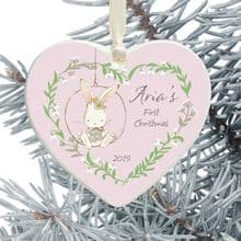 Baby Girl's 1st Christmas Ceramic Heart Tree Decoration - Cute Bunny in a Floral Heart