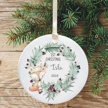 Baby Girl's 1st Christmas Ceramic Xmas Tree Decoration - Purple Berries Wreath Fox Design