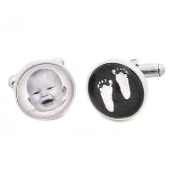 Baby Hand and Foot Print Glass Cufflinks - White Foot Prints Plus Photo - Personalised Gift For Dad and Grandad