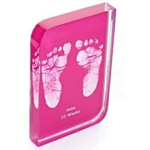 Baby Hand or Foot Prints Curved Crystal Block - Baby Keepsake Gift