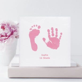 Baby Handprint and Footprint Square Ceramic Tile with Stand - Unique Baby Keepsake