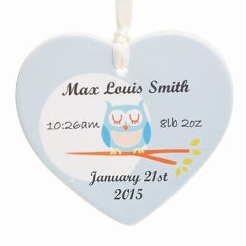 Baby Owl Ceramic Heart - Unique Personalised Newborn Gift